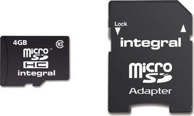 Integral Micro SDHC (avec Adaptateur) (Class 10 - 20x) 4GB Carte (Class 10)