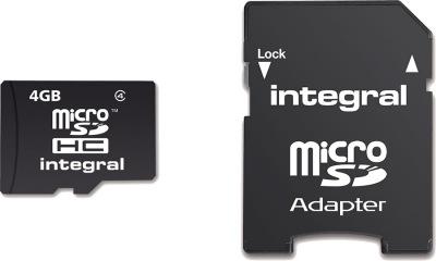 Integral Micro SDHC (avec Adaptateur) (Class 4) 4GB Carte (Class 4)
