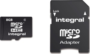 Integral Micro SDHC (avec Adaptateur) (Class 4) 8GB Carte (Class 4)