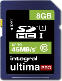 Integral SDHC 8GB Carte (Class 10 - 45MB/s)