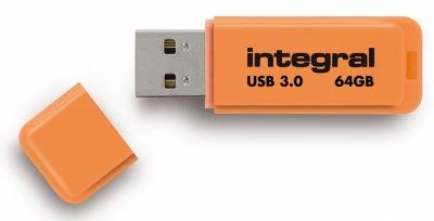 Integral Neon USB 3.0 Flash Lecteur 64GB Lecteur (Orange)