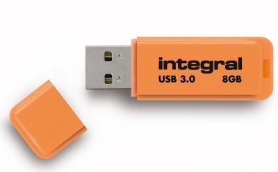 Integral Neon USB 3.0 Flash Lecteur 8GB Lecteur (Orange)
