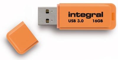 Integral Neon USB 3.0 Flash Lecteur 16GB Lecteur (Orange)
